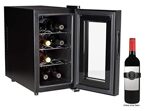 Piccolo armadietto per 8 bottiglie con termometro per vino, 21 litri, con indicatore LED e funzione...