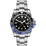 parnis 40MM GMT Master Sapphire Crystal Blue&Black Bezel Stainless Steel Men Automatic Watch