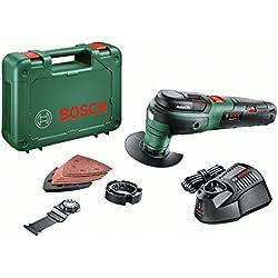 Bosch 12 V Akku Multifunktionswerkzeug UniversalMulti 12 mit Akku, Ladegerät, 9tlg. Zubehör-Set, Koffer (12 Volt System, 2,5 Ah)