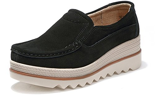 82b0c4b5911 Hishoes Women Suede Leather Wedge Loafers Casual Slip On Platform Ladies  Comfort Wide Fit ...
