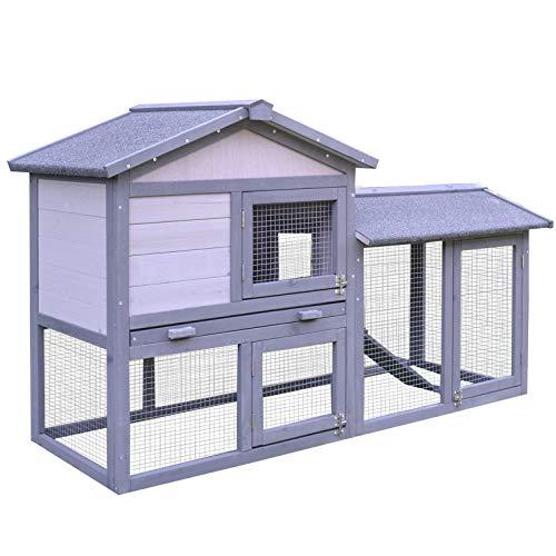 PawHut Kaninchenhaus Kaninchenstall Hühnerstall Stall für Meerschweinchen Hasen mit Freilauf Tannenholz Grau 147 x 54 x 84 cm