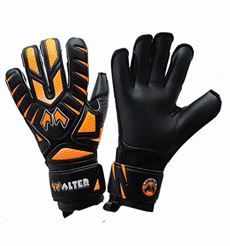 WALTER Guanti da Portiere Modello Neder (7, Black-Orange Fluo)