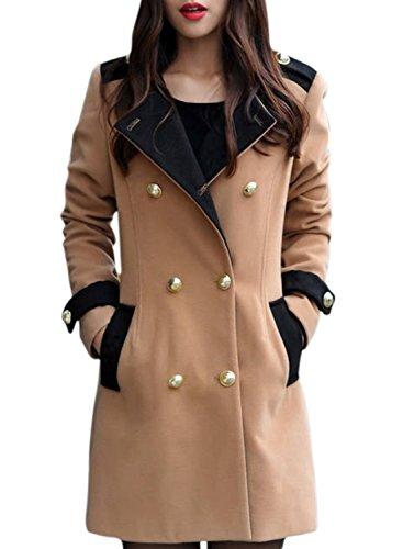 ACHICGIRL Damen Fashion Kontrastfarbiger Wolle Mischung Zweireiher Mantel