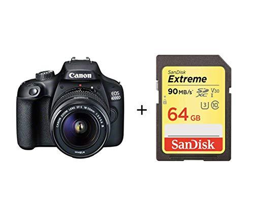Canon Italia EOS 4000D + EF-S DC III Fotocamera Reflex, Nero, Lunghezza Focale 18-55 mm con scheda di memoria 64G