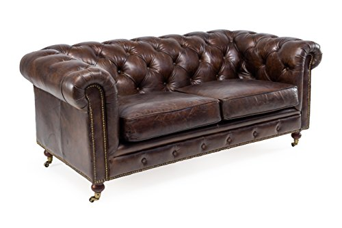 Divano Chester 2 posti in vera pelle alta qualità effetto invecchiato finitura vintage - PROMO