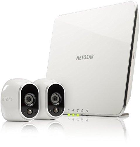 Arlo - Smart Caméra - Pack de 2 - Kit de Surveillance 100% sans Fil, HD,Vision Nocturne, Etanches Intérieur/Extérieur, Fixations Aimantées Fournies l VMS3230-100EUS