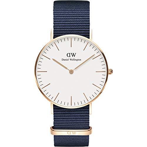 Daniel Wellington Unisex Erwachsene Analog Quarz Uhr mit Stoff Armband DW00100279