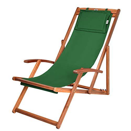 Liegestuhl Deckchair Akazienholz Klappbar Atmungsaktiv Sonnenliege Strandstuhl Gartenliege Relaxliege Grün