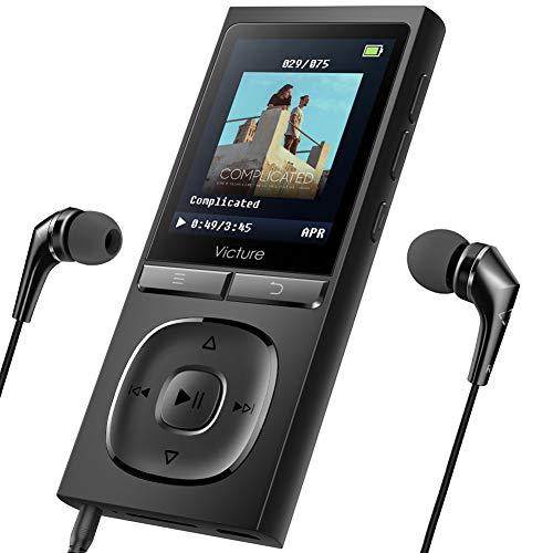 Victure MP3 Player 100 Stunden Standby-Zeit Portable Verlustfreien Klang Musik Player 8GB-Speicher Erweiterbar auf bis zu 64 GB mit Kopfhörer 1.8TFT-FM Radio Voice Recorder