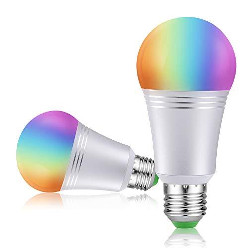 Lampadina Wi-Fi Intelligente [2Pezzi] Smart Bulb E27 Dimmerabile LED Light 16 Milioni di Colori di...