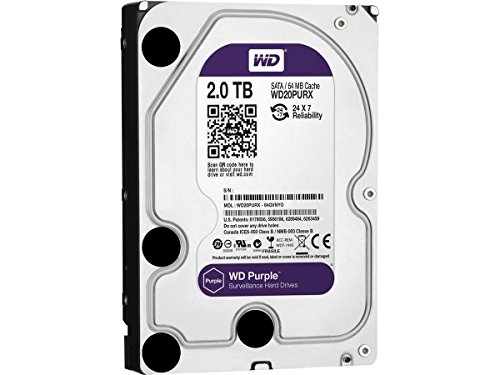 WD Purple WD20PURX 2TB Surveillance 3.5 and 34 SATA 64 MB Buffer Internal Hard Drive
