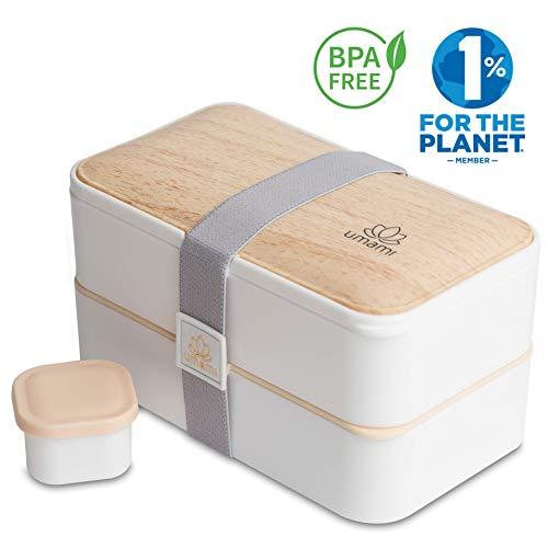 UMAMI Lunch Box Bianco Bambù | Porta Pranzo Ermetico 2 Scomparti e 3 Coperchi con Posate e Porta...
