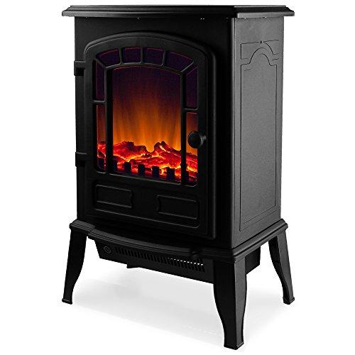 Elektro-Kamin mit Heizung und Kaminfeuer-Effekt 2000W schwarz/weiß Flammeneffekt Flammenambiente Ofen