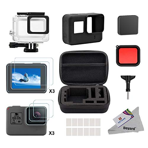 Deyard 25 in 1 kit di accessori per GoPro Hero 7 (Solo nero) Hero (2018) GoPro Hero 6 Hero 5 con piccolo kit custodia antiurto per GoPro Hero GoPro Hero 6 Hero 5 Action Camera