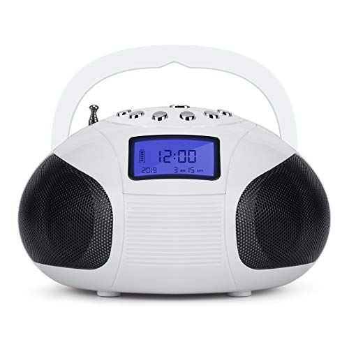 August SE20 Radio portatile con altoparlante Bluetooth, Bianco