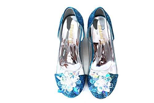 ELSA & ANNA Buona qualità Ragazze Ultimo Design Principessa Regina delle Nevi Gelatina Partito Scarpe Sandali BLU14-SH (BLU14-SH, Euro 27-Lunghezza 18.0cm)