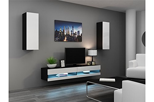 Chloédesign Valor Mobile per TV, Legno, Nero e Bianco, unica