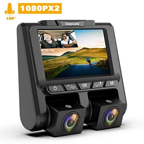 TOGUARD Telecamera per Auto Dash Cam,Doppia Lente Full HD 1080P+1080P 3' Schermo LCD con 340°Grandangolo Dashcam Auto, G-Sensor ,Registrazione in Loop,Monitor di Parcheggio e Rilevatore di Movimento