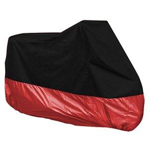 Surepromise Motorrad Abdeckplane Abdeckung Motorradabdeckung Motorradplane Outdoor Indoor 190T Wasserdicht Winterfest mit Tasche (XXXL, schwarz&rot) 11