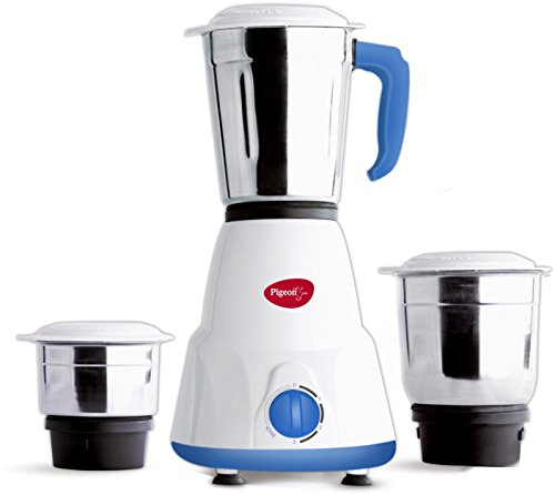 Pigeon Gusto 550-Watt Mixer Grinder with 3 Jars (White)