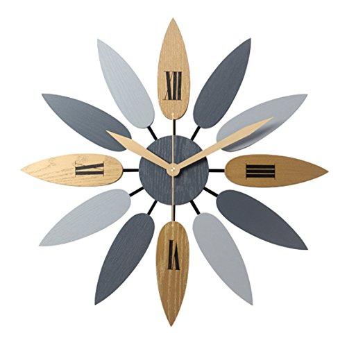 MRKE 50CM XXXL Grande 3D Orologio da Parete Moderni Legno Vintage Silenzioso Retro Design Moderno Orologio da Muro per Cucina/Bagno/Soggiorno/Ristorante/Camera da Letto