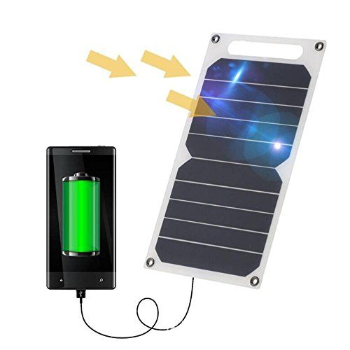 Cargador Solar, 10W 5V Panel Solar Portátil Batería Externa Power Bank con Puerto USB Cargador Móvil para Teléfonos Tabletas Carga de Emergencia en Acampar al Aire Libre Viajar