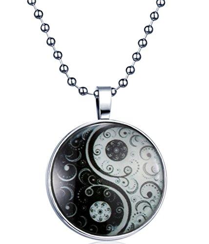Yumi Lok Tai Chi Yin Yang la oscuridad, para colgante collar aleación medallón amuleto kettenänhanger para mujer hombre, luz azul
