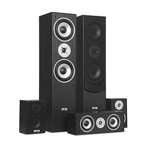 auna Surround Speaker Box Set • Surround Sound System • Sistema Home Theater • Bass Reflex Chassis • 335 W RMS • Max. Potenza di 1.150 W • Possibilità di montaggio a parete • 5 box • Nero