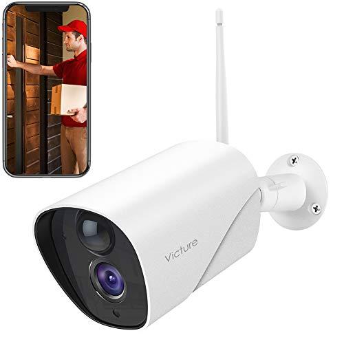 Telecamera Wifi Esterno, Victure FHD 1080P Telecamera IP di Sorveglianza, Rilevazione di Movimento IR, Fotocamera Statica Impermeabile e Antipolvere, Audio Bidirezionale, Visore Notturno