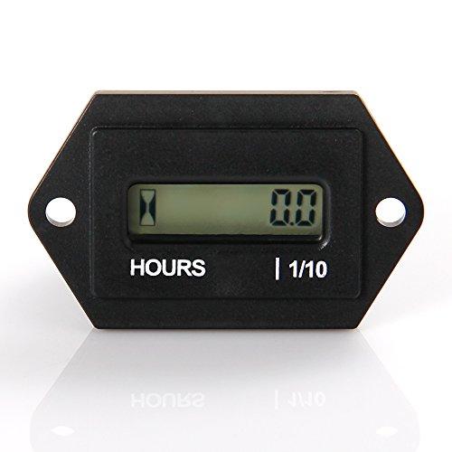 Medidor de horas LCD digital Runleader, CC de 4.5V a 90V, total de horas reiniciable, uso para cortacésped ZTR Tractor Generador Carro de golf Club club Scrubber Marina ATV Compresor de motor y otro equipo motorizado (DC4.5-90V)