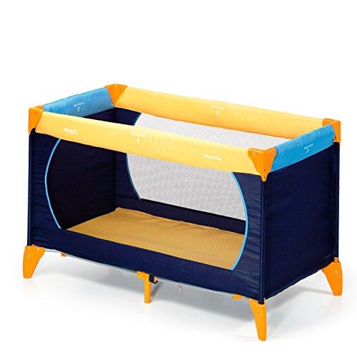 Hauck Dream N Play Lettino da Viaggio per Neonati e Bambini Fino a 15 Kg con Leggero Anti-Ribaltamento, Multicolore  (Giallo/ Blu/ Navy)