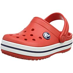 crocs Crocband Kids, Unisex - Kinder Clogs, Rot (Flame/White), 32-33 EU