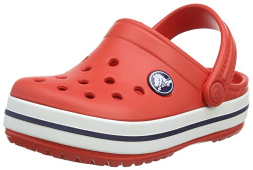 crocs Crocband Kids, Unisex - Kinder Clogs, Rot (Flame/White), 32-33 EU