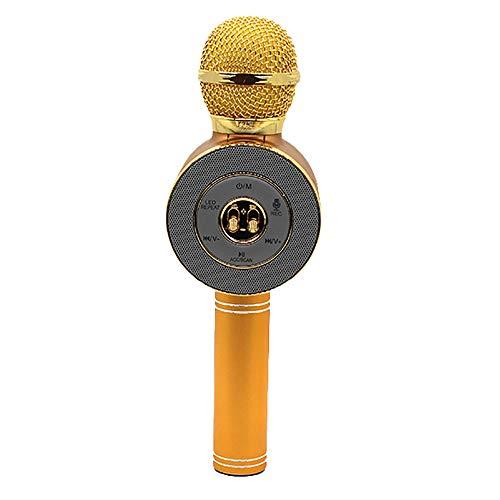 Micrófonos de karaoke para niños Micrófono inalámbrico Bluetooth Karaoke con luces LED de flash, manija de aleación de aluminio, altavoz, PC compatible y todo tipo de teléfonos inteligentes,Beige