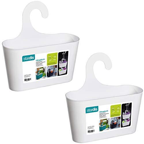 stardis 2er-Set Duschkorb zum Hängen ohne Bohren - Duschregal aus Kunststoff - Badregal - Utensilo - Duschablage, Farbe:Weiß