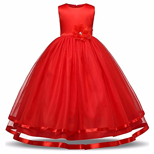 vinny creation Princess Girl's Occasion Wear Dress (Red, 4-6 Years)