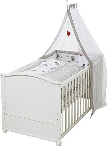 roba Komplettbett Set \'Adam & Eule\', Babybett weiß inkl. Bettwäsche, Himmel, Nest, Matratze, Kombi Kinderbett 70x140cm umbaubar zum Junior Bett