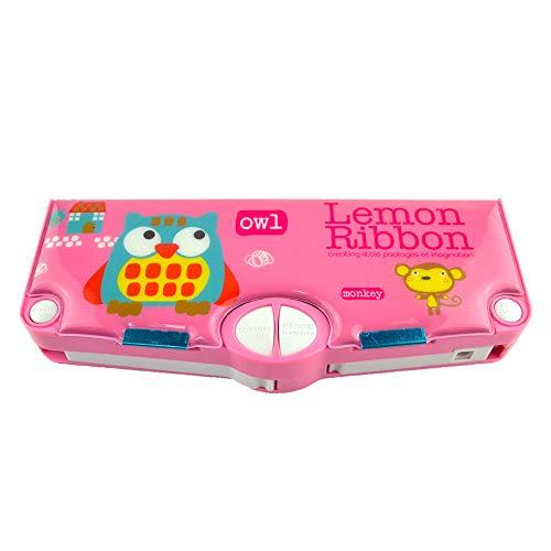Lemon RibbonAZB - Astuccio multifunzione con supporto in plastica rosa, coperchio magnetico,...