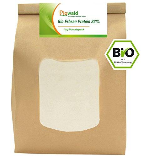 BIO Erbsenprotein 82{5f6f394e51440728b86807dc02b348252ee1bdba2a472189fca6ff2038a5a3ba} - Isolat - 1 kg Pulver Vorratspack, EU-Herstellung, Pflanzliches Eiweißpulver, Vegan