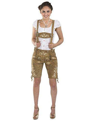Damen Wiesnzauber Trachtenlederhose - mittellange Trachten Lederhosen - Lederhose Alternative zum Dirndl - sexy Hose Trachtenhose (34, Hellbraun)