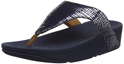 Fitflop Lottie Toe Post - Chain Print, Sandali a Punta Aperta Donna, Multicolore (Midnight Navy...