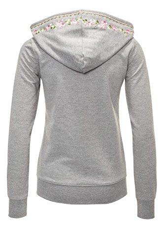 Hachiro Damen Sweatjacke Hoodie Sweatshirt Pullover (L, Light Grey Melange) - 3