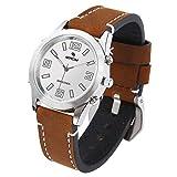 MEACOM sprechende Uhr, Deutsch Sprechen Sprechende Armbanduhr Blindeuhr Lederband Edelstahl Zifferblatt Sprachfunktion Zeitansage sprechende Uhr für Alter/Blinde/Optisch Beeinträchtigte (braun)