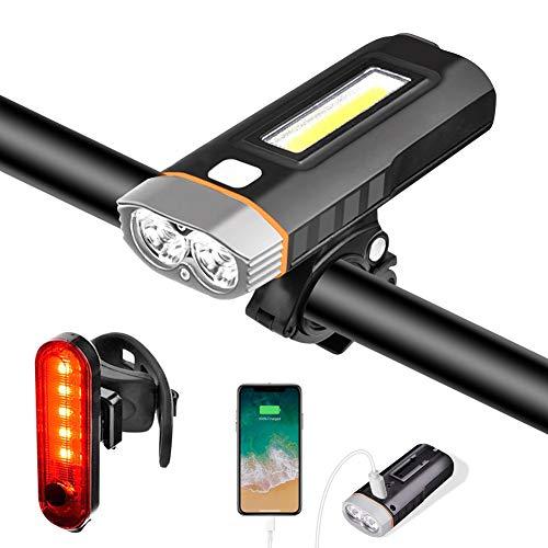 Luci Bicicletta LED Luce Bici Faro Fanale Anteriore Fari Kit USB Ricaricabile 4000 mAh 1000 Lumen...