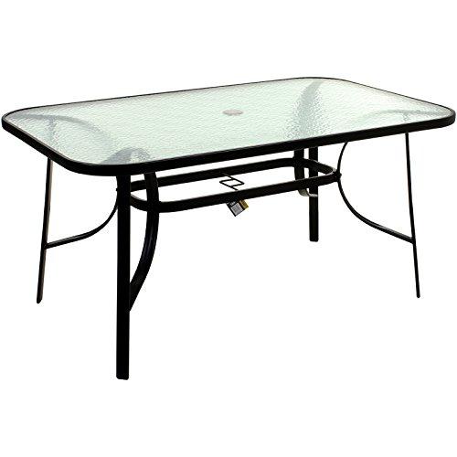 Marko Outdoor Rectangular Glass Table Outdoor Dining Patio Garden