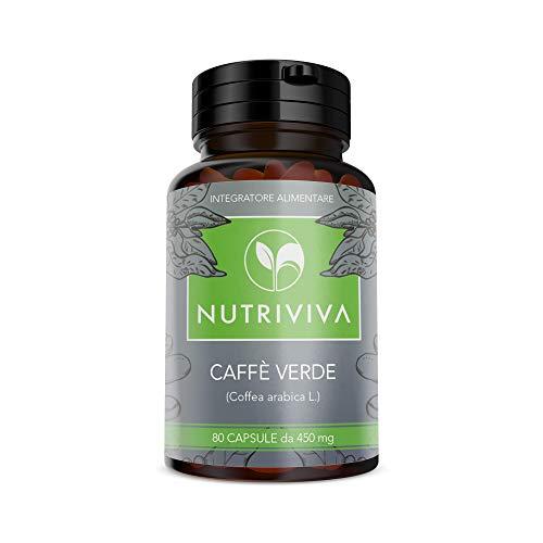 NUTRIVIVA Caffè verde 80 capsule da 450 mg | Brucia grassi, dimagrante, riattiva il metabolismo | Alta concentrazione di acido clorogenico