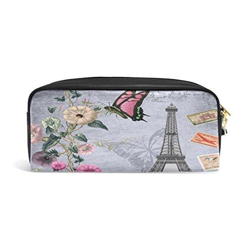 zzkko París de flores funda de piel con cremallera lápiz pluma estacionaria bolso de la bolsa de cosméticos bolsa bolso de mano
