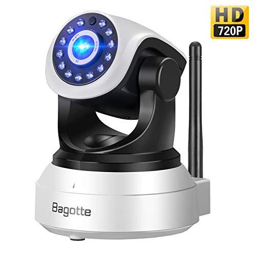Bagotte HD 720P Telecamera Sorveglianza Wifi Interno, Videocamera IP Wireless Camera, Visione Notturna a Infrarossi , Audio Bidirezionale, Sensore di Movimento Pan/Tilt, Compatibile con iOS & Android