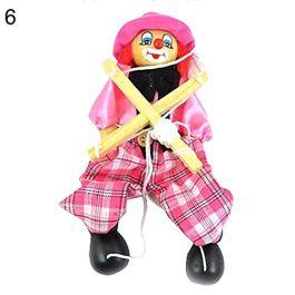 0Miaxudh Bambini Marionette giocattolo string clown bambola in legno artigianato giocattolo Joint Mo
