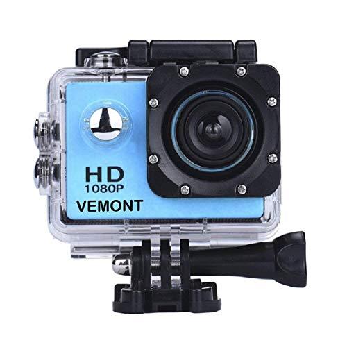 YMHX Vemont Cámara Deportiva 1080P HD Impermeable 30M Pantalla de 2.0 Lente de Gran Angular de 120 Grados Multiples Accesorios para Deportes y Actividades, Buceo, Nadar, Correr, Ciclismo, etc. (Azul)
